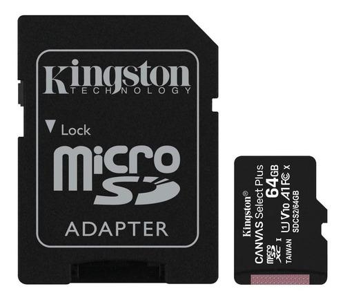 Imagen 1 de 1 de Tarjeta de memoria Kingston SDCS2  Canvas Select con adaptador SD 64GB