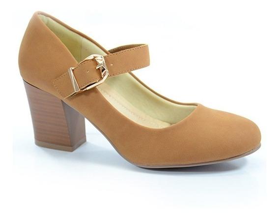 Sapato Salto Médio Facinelli Marrom - 61901