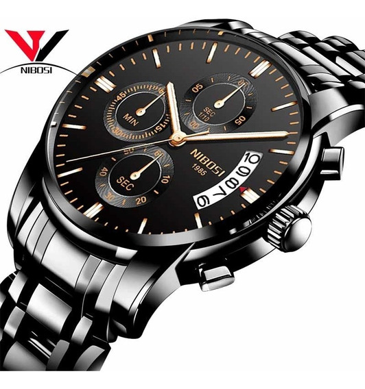 Nibosi Cronógrafo Hombres Reloj Impermeable Superior Marca L