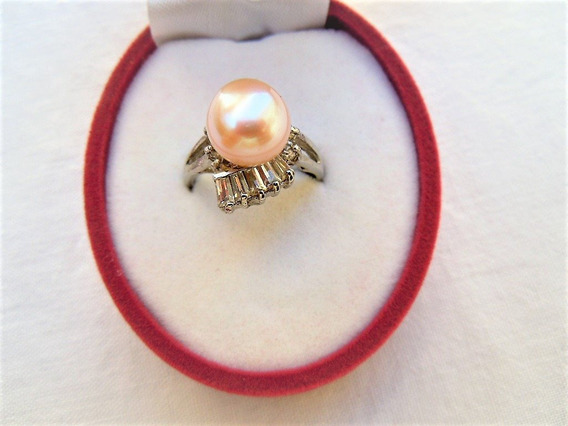 Anillo Perla Cultivada Color Melon 7-8 Mm