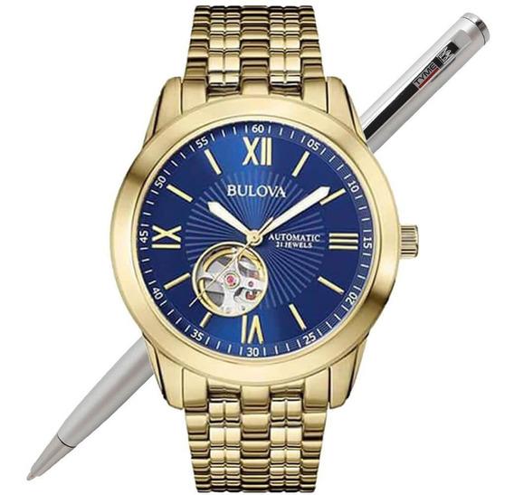 Relógio Bulova Masculino Automático Dourado Wb32004z C/ Nfe