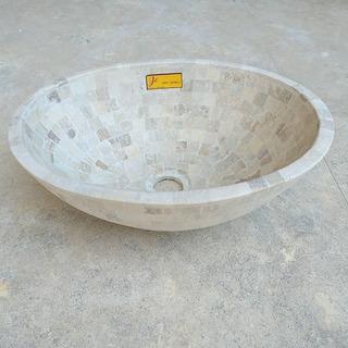Bacha De Apoyo Jc Travertino 34.5 Diametro Piedras Baño