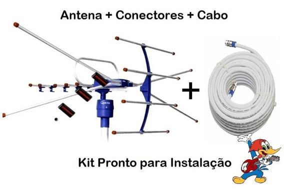 Kit Antena Externa Tv Digital Quanta Qtant1000 Uhf/vhf/fm