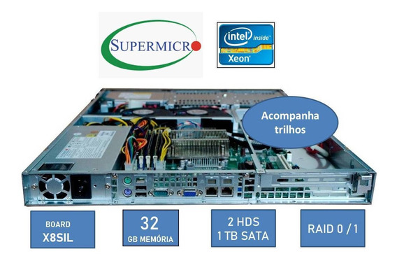 Servidor Supermicro Xeon X3430 1u Rack 32gb Hd 2tb