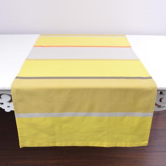 Caminho De Mesa Listrado Amarelo Cinza 100% Algodão 60x140cm