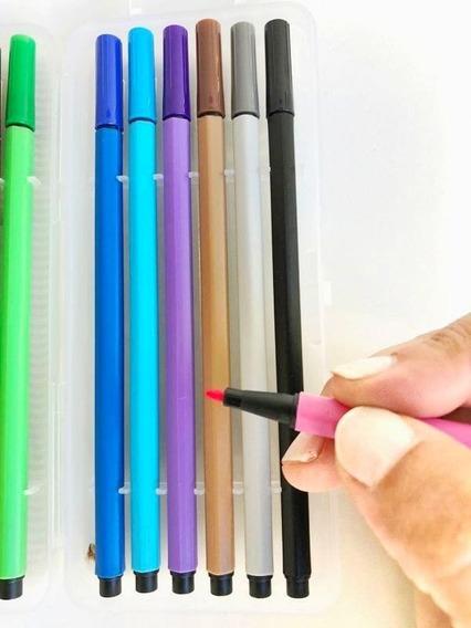 Marcadores Colores Set X12 Finos Aula Escuela Clases