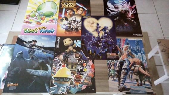 Lote Poster Game Playstation Nintendo Mario Sonic Mini Poste