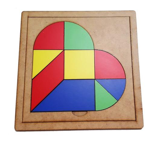 Tangram Corazón, Juego Matemático, Geometría, Rompecabezas