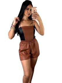 Short De Couro Fake Hot Pants Preço Baixo #ar129