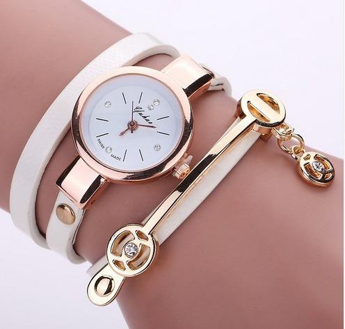 Relógio Feminino Luxo Quartzo Pulseira Couro + Brinde