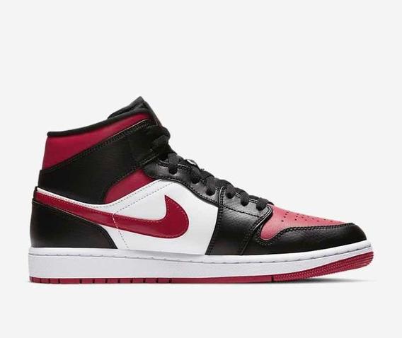 Sneakers Original Jordan 1 Mid Bred Toe Rojos Originales