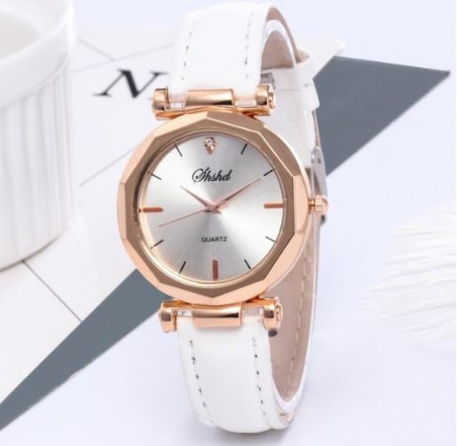 Relógio Feminino Sxshd, Dourado Pulseira Couro Branco