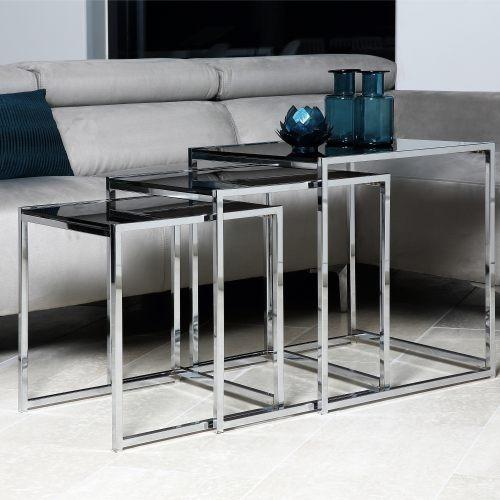 Mesa De Centro / Canto Em Inox Conjunto 3 Unidades Vidro