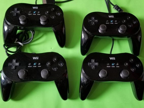 Controle Original Nintendo Wii Classic Pro Preto.