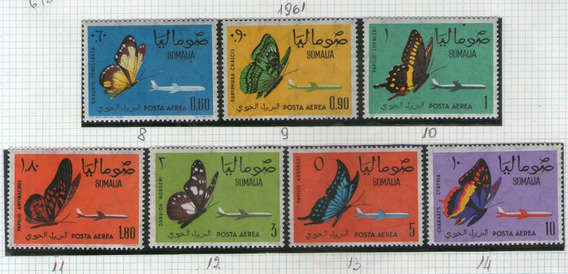 Somalia 7 Sellos Aéreos Mint Mariposas De La Región Año 1961