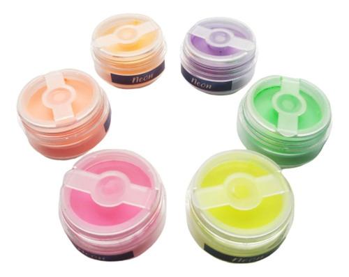 Kit Pigmentos Neón Decoración Uñas Nail Art X 6 Un
