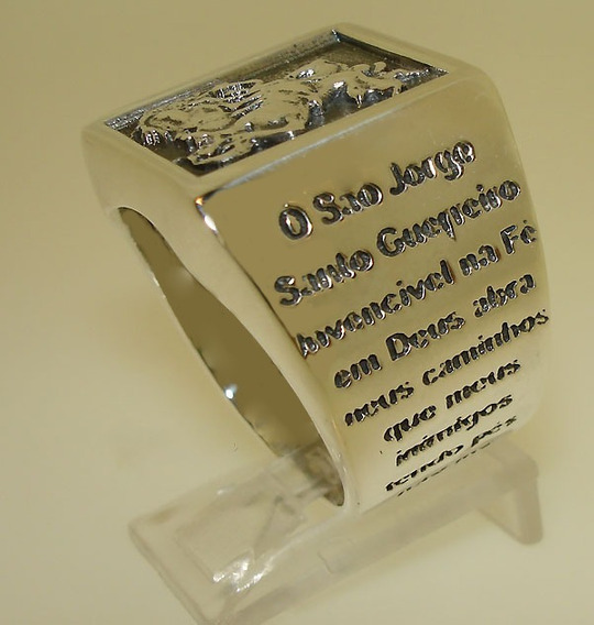 Anel São Jorge Com Oração Em Prata 950k Original A 120 Anos
