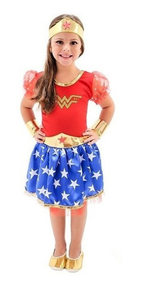 Vestido Fantasia Mulher Maravilha Infantil Oferta