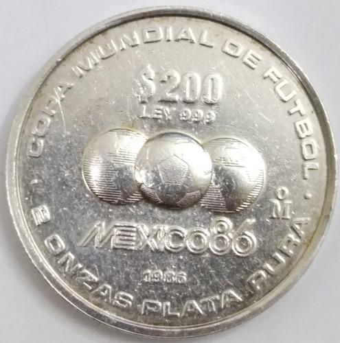 Imagen 1 de 2 de Moneda 200 Pesos Mundial Fútbol México 86 2 Onzas Plata Pura