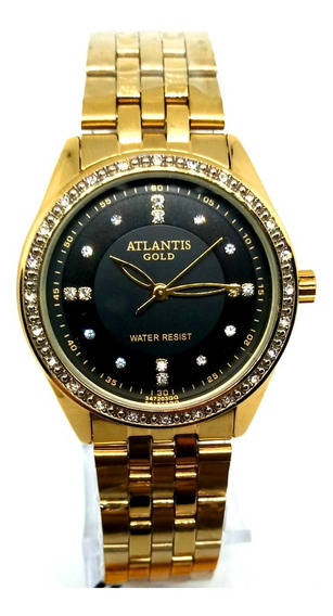 Relógio Feminino Atlantis G3472 Dourado Fundo Preto
