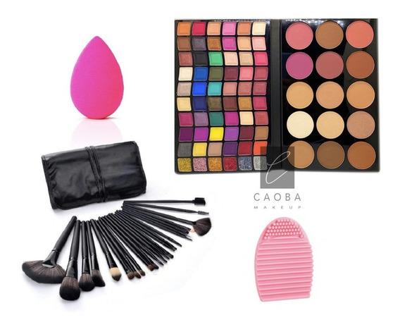 Combo Profesional De Maquillaje Paleta + Brochas + Accesorio