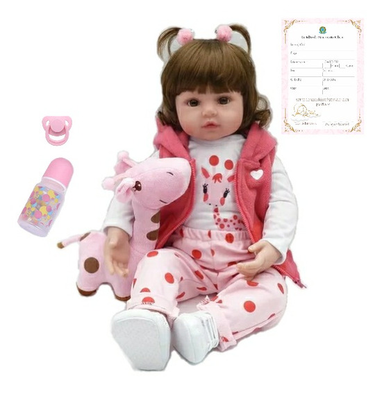 Boneca Bebê Reborn Realista De Silicone Girafinha