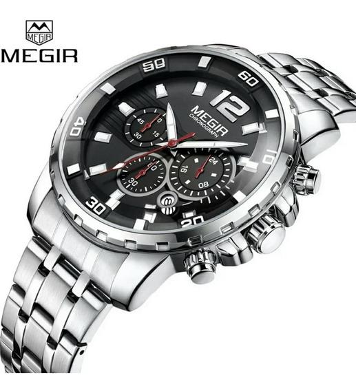 Relógio Masculino Luxo Prata Megir M2068 Barato Frete Gratis