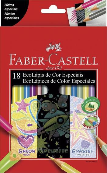 Colores Faber Castell X 18 6 Neón -6 Metálicos - 6 Pastel