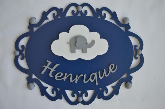 Elefante Nuvem Montessoriano Porta Maternidade Bebê Quadro