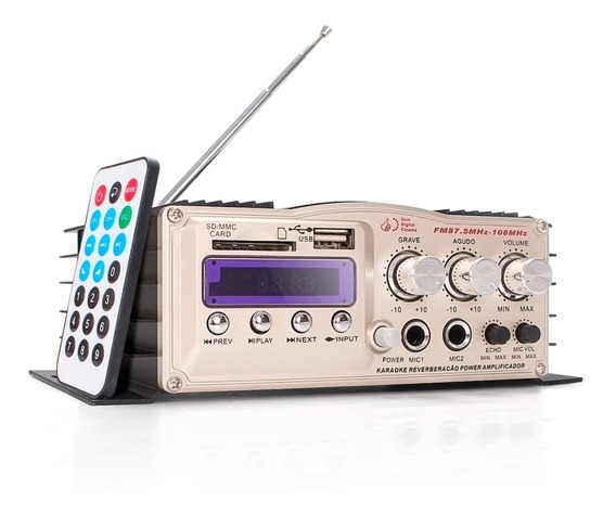 Amplificador Áudio 200w Rms Bluetooth Fm Karaokê Som Ambient