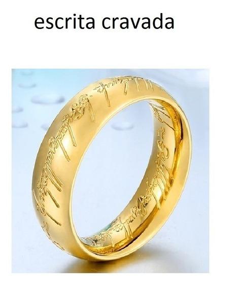 Anel Senhor Dos Aneis Par 7mm Escrita Cravada Banhadas Ouro
