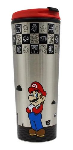Copo Para Viagem Com Tampa Nintendo Super Mario Black 450ml