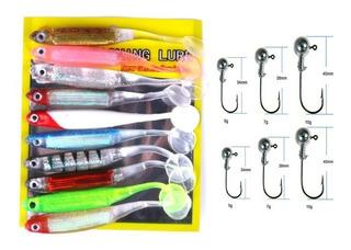 Kit C/10 Iscas Artificiais Soft Shad + 6 Anzol Jig Head