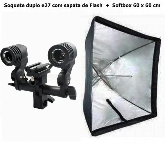 Soquete Duplo E27 Com Sapata De Flash + Softbox 60 X 60 Cm
