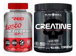 Kit Metildrol Red Series(60 Tabs)+ Creatina Black Skull 300g