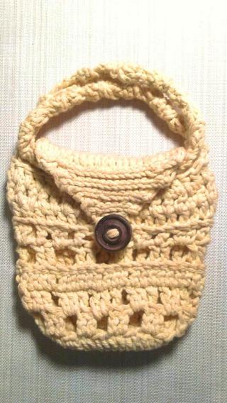 Cartera Crochet Hilo Algodón Botón Día De La Madre