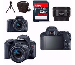 Câmera Canon Sl2+18-55+50mm 1.8 Stm+bolsa+32gb+tripé Rev.aut