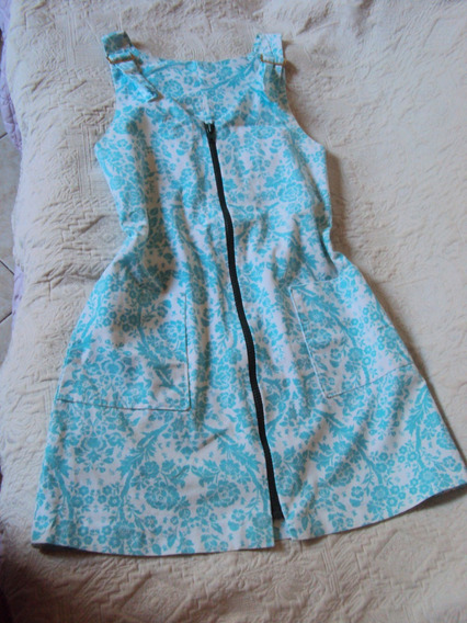 Vestido Azul Estampado Florido Tamanho M