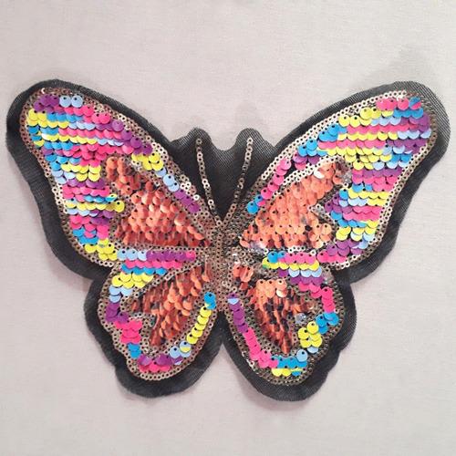 Ack-5184 Aplique Mariposa Lentejuelas Reversible Por 50unid