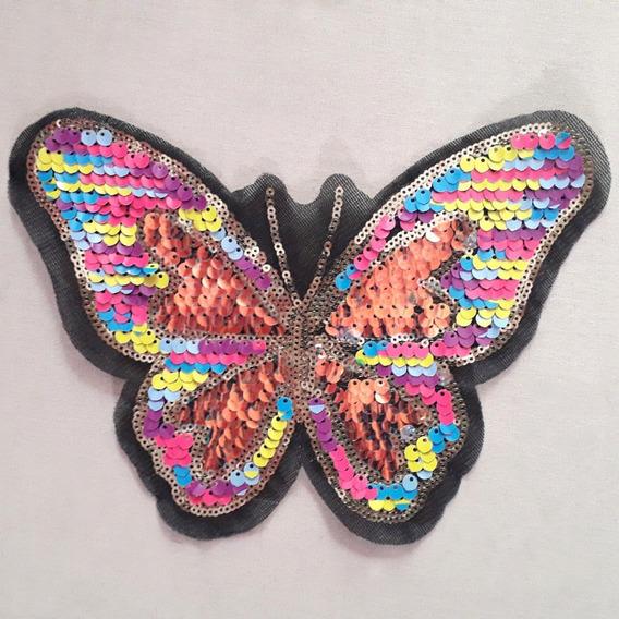 Ack-5184 Aplique Mariposa Lentejuelas Reversible Por 10unid