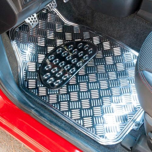 Imagen 1 de 6 de Alfombras Goma Auto Color Cromo Cromado Silver 4 Pzs T94