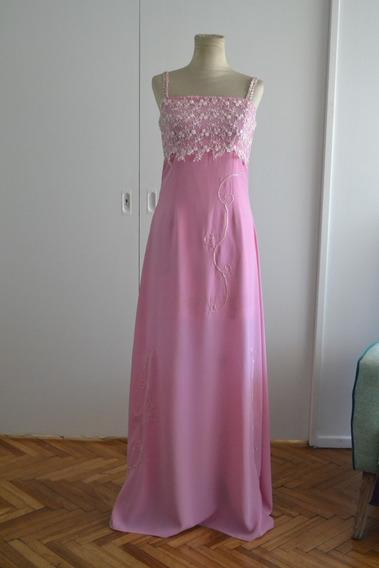 Vestido Rosa Chicle Largo Con Bordado Busto Guipur
