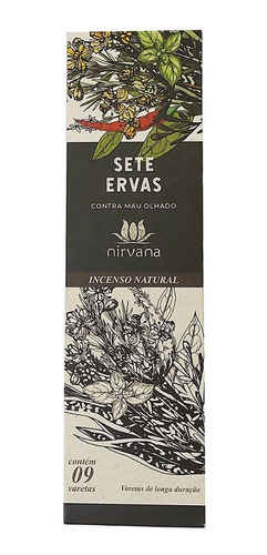 Incenso Nirvana Sete 7 Ervas Cx.9v.
