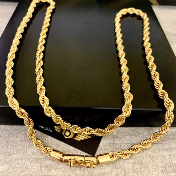 Corrente Masculina Banhada A Ouro Cordão Trançado Baiano 5mm Com Garantia Parcelamento Em Até 12x Corda Top Luxo