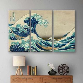Cuadro Decorativotríptico La Gran Ola De Kanagawa Canvas