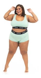 Calcinha Plus Size Wonder Size Boy Short Elástico Verde