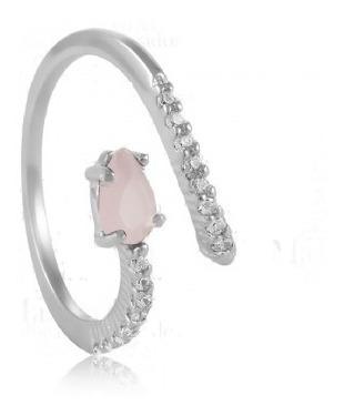 Anel Com Cristal Quartzo Rosa E Zirconia No Rodio