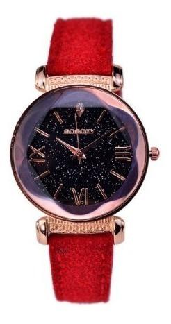 Relógio Feminino Strass Estrelado Universo Quartzo Camurça