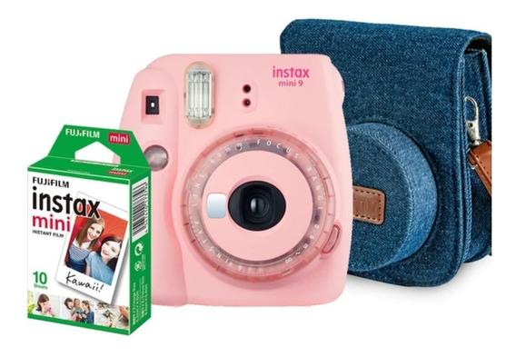 Kit Câmera Instantânea Instax Mini 9 Rosa Chiclé Bolsa + Fts