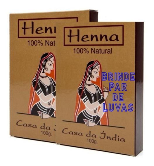2 Cx Henna Indiana 100% Natural Pura + Luvas Melhor Preço